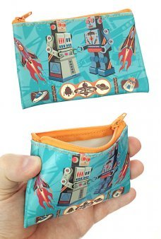 Retro Robots Coin Purse Canvas Coelacanth