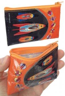 Moon Rockets Coin Purse Zipper Canvas Bag