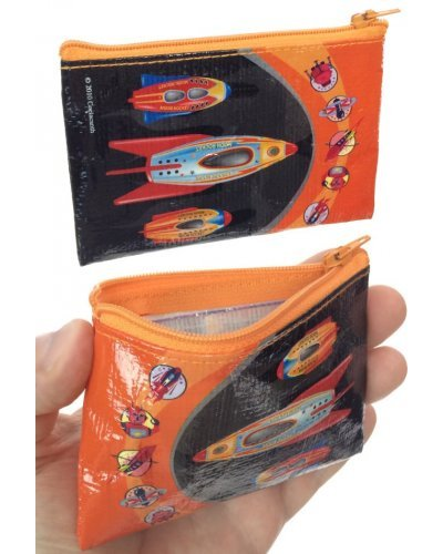 Moon Rockets Coin Purse Zipper Canvas Bag