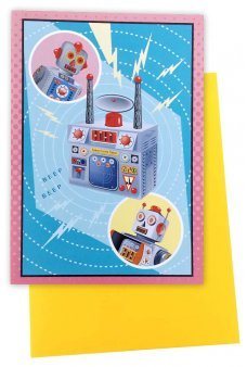 Retro Robots Radio Gift Greeting Card
