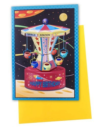 Space Station Birthday Card Illustrated Ride