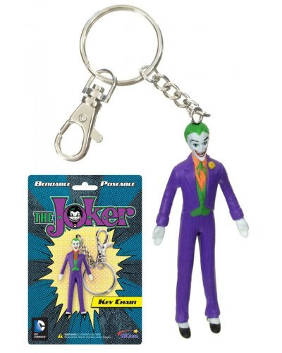 Joker Bendable Figure Silver Metal Keychain