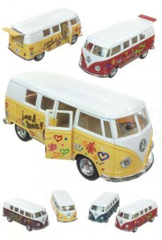 Hippy VW Micro Van Love Peace Die Cast