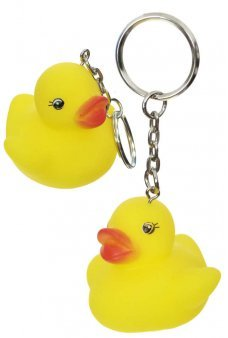Rubber Duck with Key Ring Silver Metal Ring