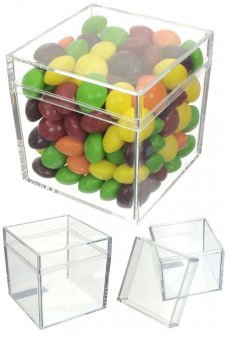 Cube Candy Box Plastic Clear with Lid