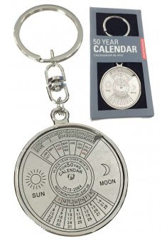 50 Year Calendar Keychain Silver Metal Ring