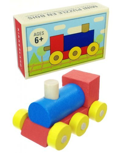 Mini Train Puzzle Building Blocks Wooden