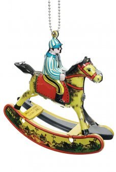 Rocking Horse and Jockey Ornament Tin Toy