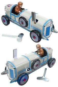 Indy Race Car Number 3 Tin Toy 1912 Tan Blue