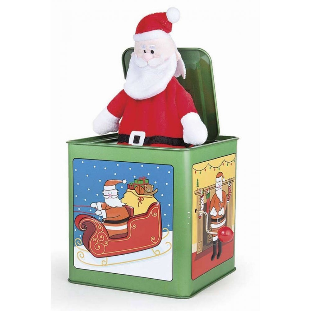 Santa Claus Jack in the Box : Wish You a Very Christmas : Tin Toy