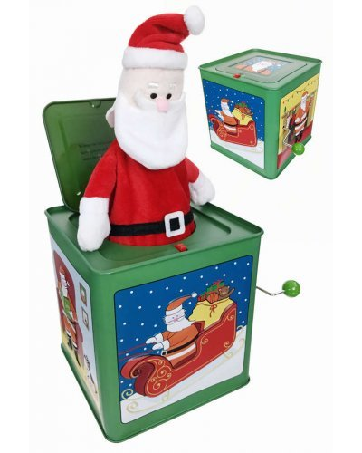 Santa Claus Jack in the Box Christmas Tin Toy