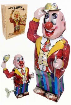 Tin Toy Clown Dandy Tips Hat