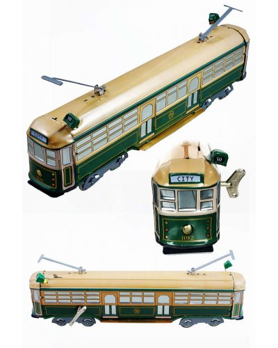 Train Tram Melbourne Australia Green Tin Toy
