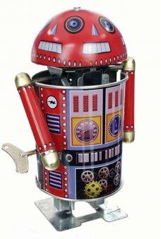 Robo Cop Tin Toy Robot Spin Head 6 Eyes