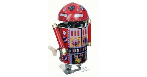 Tin Toy Robo Cop Robot Spinning Head : Primitive Metal Wind-up