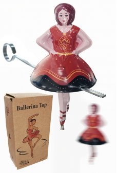 Tin Toy Ballerina Spanish Spin Top Zip Bar