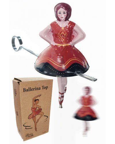 Tin Toy Ballerina Spanish Spin Top Zip Bar