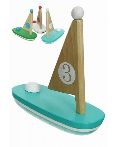 Wooden Sail Boat Toy Pastel Natural Wood