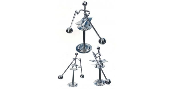 snow skier silver balancing mini   balance wire metal chrome