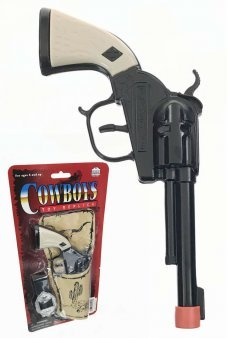 Black Pistol Cowboy Cap Gun Set with Holder