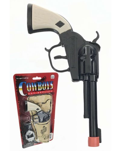 Black Pistol Cowboy Paper Roll Cap Gun Set with Holder