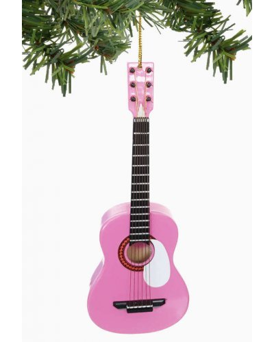 Pink Acoustic Guitar Ornament Christmas