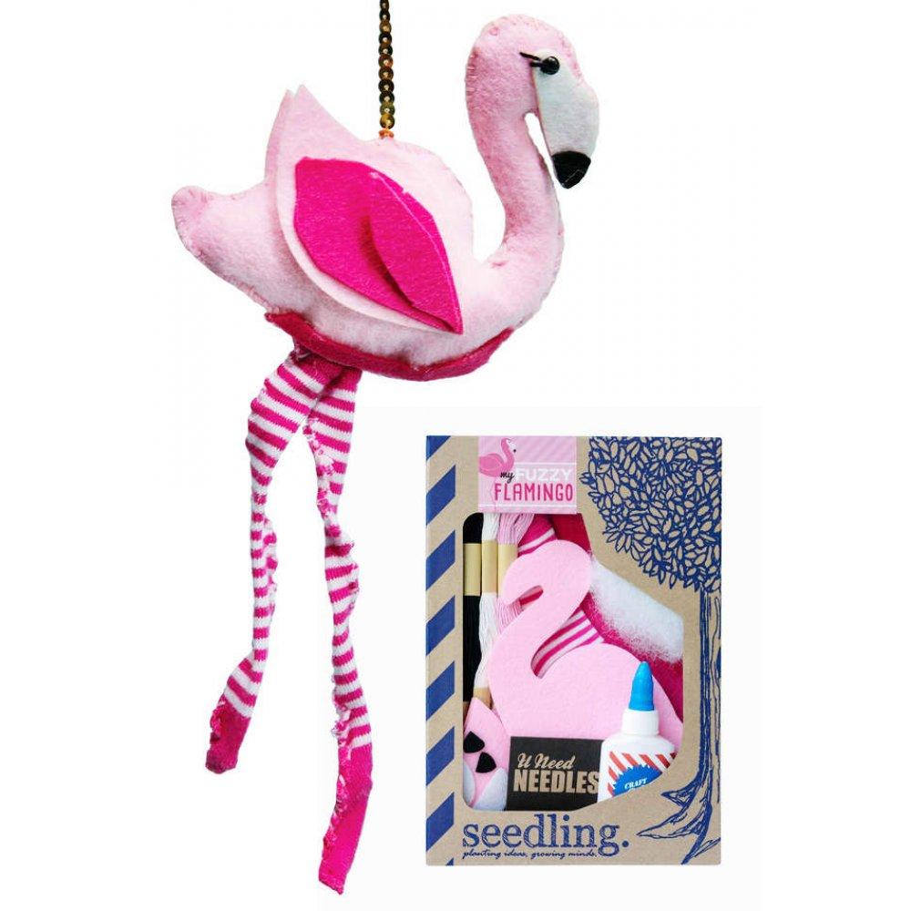 My Fuzzy Flamingo Kit : Soft Plush Pink Socks : by Seedling