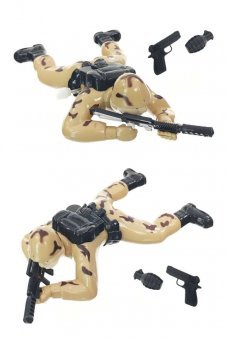 Crawling Army Soldier Desert Tan Wind Up