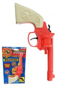 Western Revolver 8 Shot Ring Cap Gun Orange Plastic