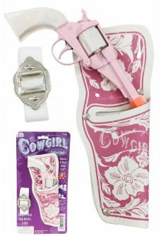 Cowgirl Pink Pistol 8 Shot Ring Cap Gun White Handle