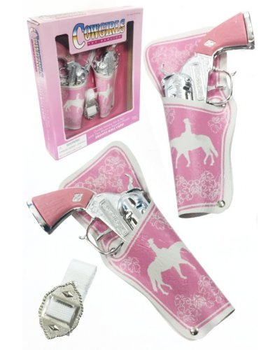 Cowgirl Paper Roll Cap Guns Double Holster Set Pink