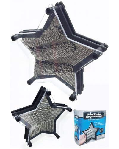 Pin Art 3D Star Impression Toy Black Large