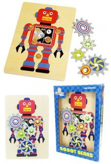 Wooden Robot Gears Puzzle Original Toy