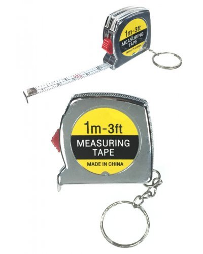 Mini Measure Tape on Silver Key Ring