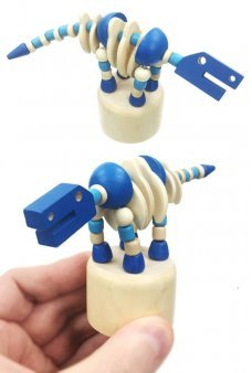 Blue Brontosaurus Wood Push Puppet Blue