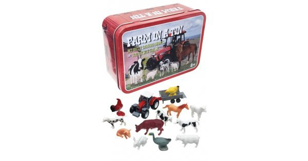 Farm In A Tin : 12 Animals : Tractor With Trailer