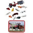 Mini Farm in a Tin Animals with Tractor Trailer