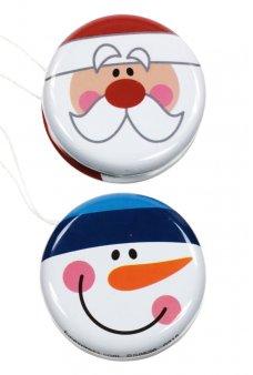 Santa and Snowman Yo-Yos Tin Toy Set of 2