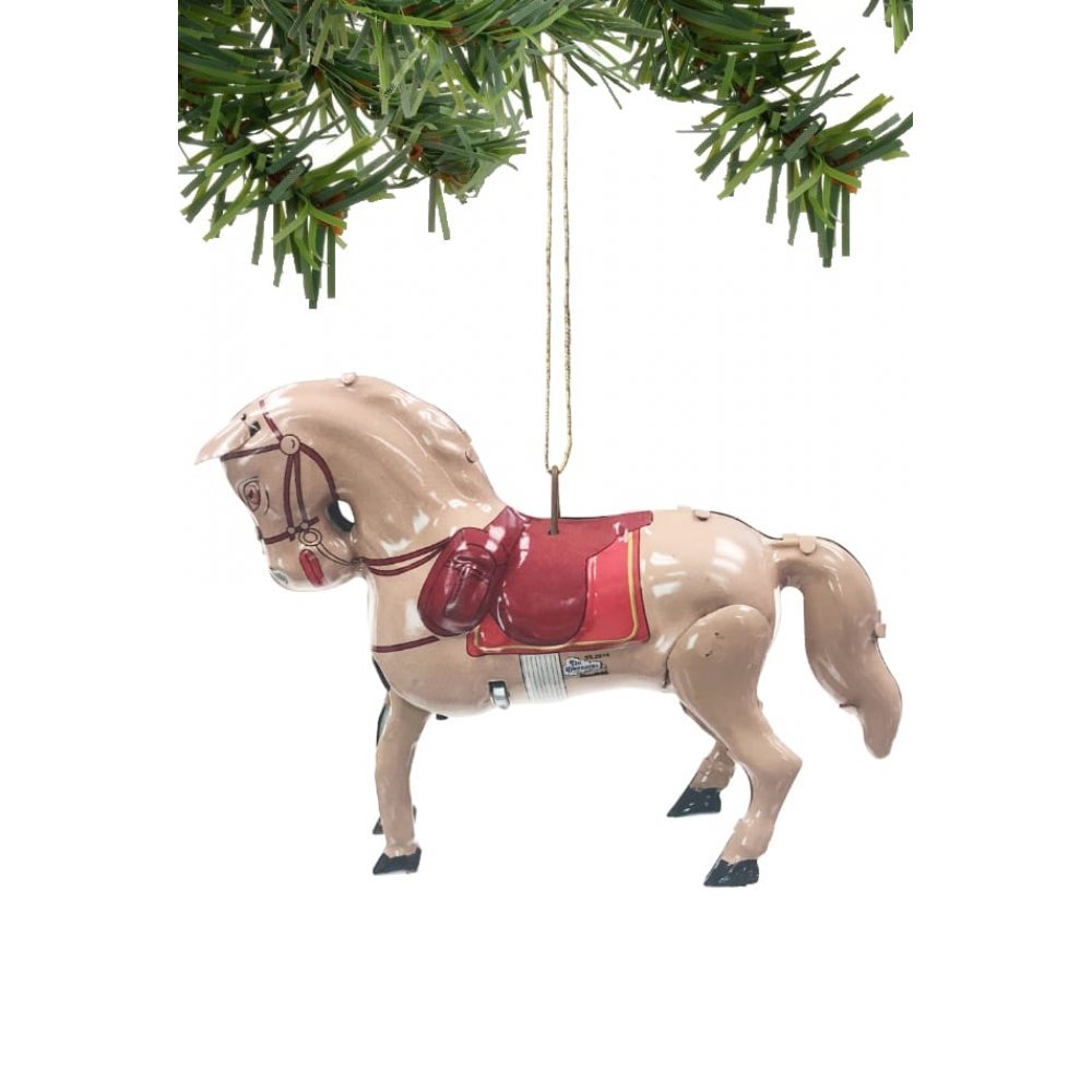 Christmas Horse Tack.Christmas Horse Ornament Tin Toy Decoration Penny Toy