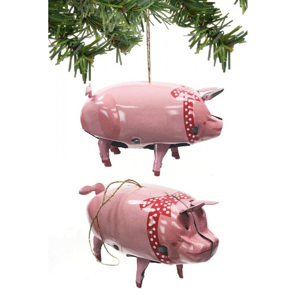 Christmas Pig.Priscilla Pink Pig Ornament Christmas Tin Toy