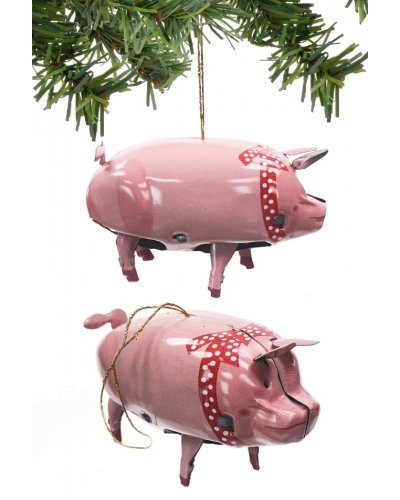 Priscilla Pink Pig Ornament Christmas Tin Toy