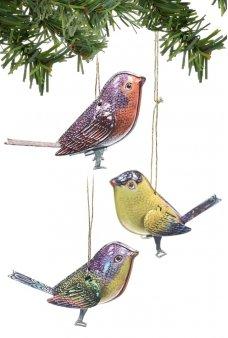 Birds Ornaments Holiday Tin Set 3 Canaries