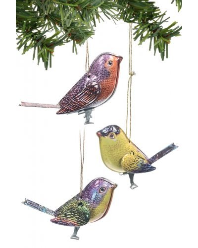 Birds Ornaments Holiday Tin Set 3 Canaries