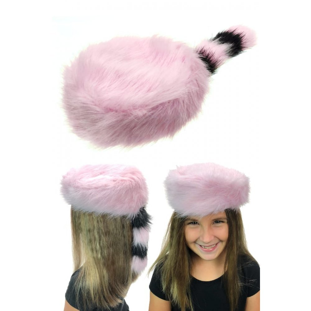Pink Coonskin Cap : Davy Crockett : Western Hat : Youth Size