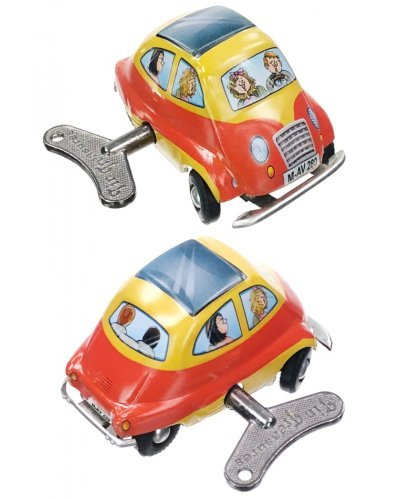 Mini Auto Euro Car Tin Toy Windup Steering