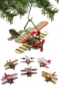 Mini Biplanes Christmas Ornaments Set of 6