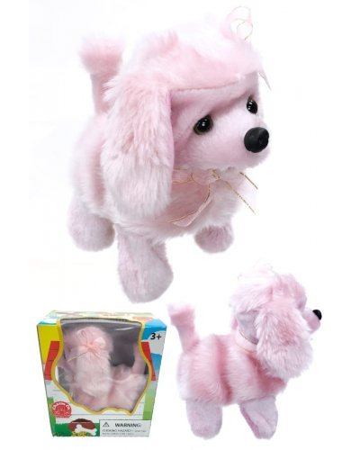 Pink Poodle Puppy Dog Walks Barks Doggy