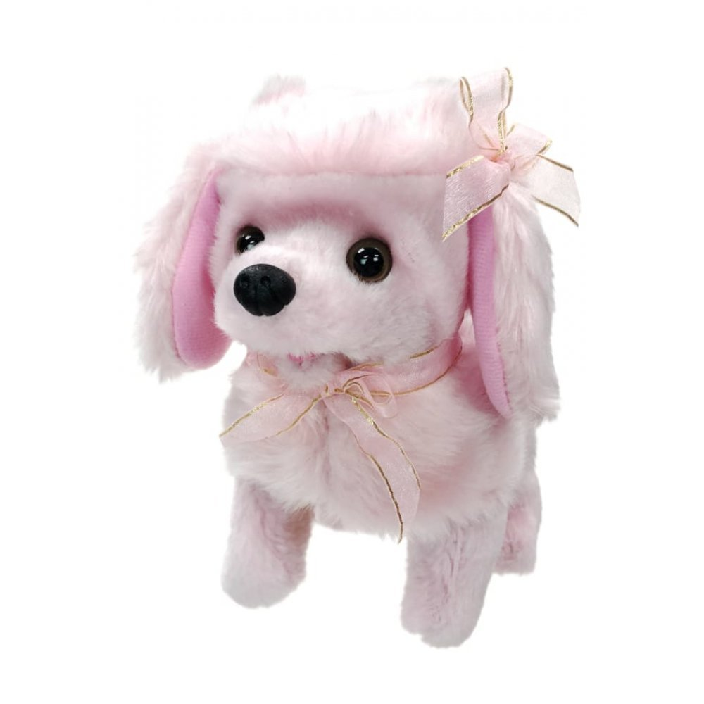 Pink Poodle Puppy Walks Barks Soft Mechanical Baby Pink Collar