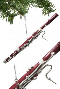 Bassoon Christmas Ornament Maroon Silver