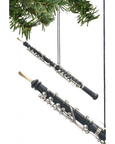Oboe Christmas Ornament Black Silver